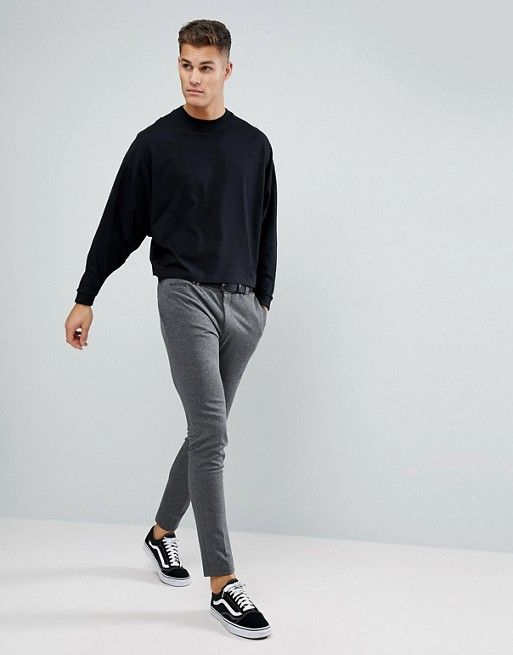 c4ef894e ASOS | ASOS Oversized Long Sleeve T-Shirt With Extreme Batwing In Cropped  Length In Black