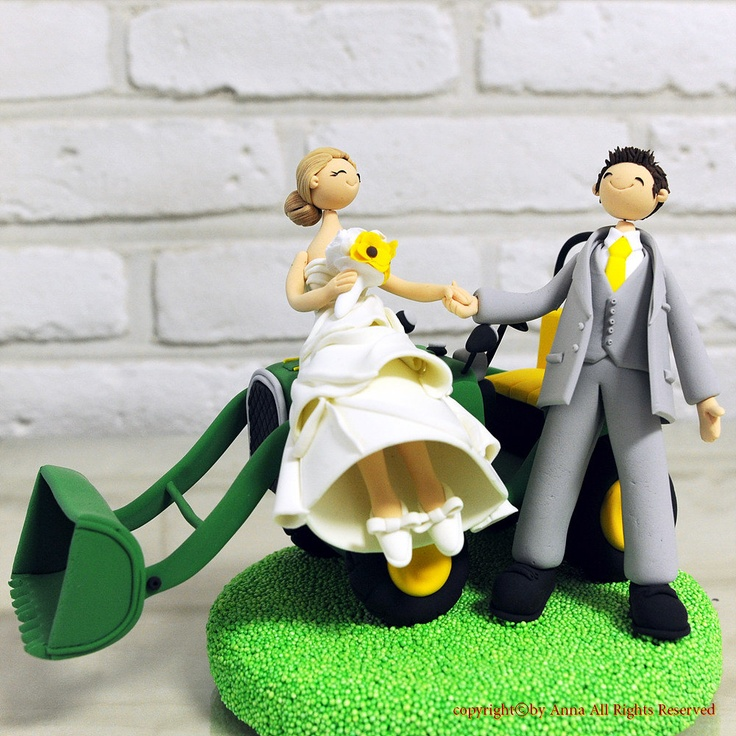 Couple with tractor wedding cake topper decoration, via Etsy. This ...