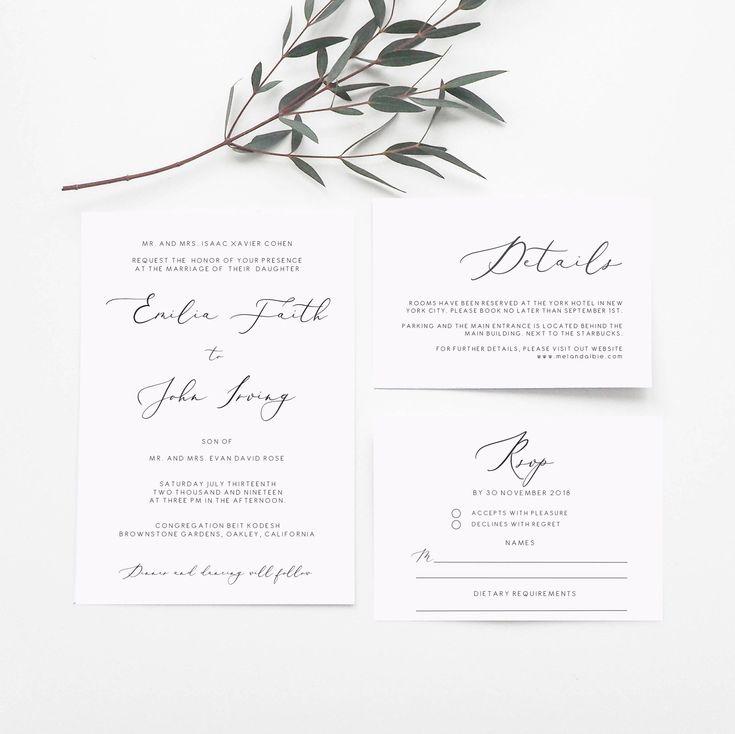 formal wedding invitation set template minimal printable