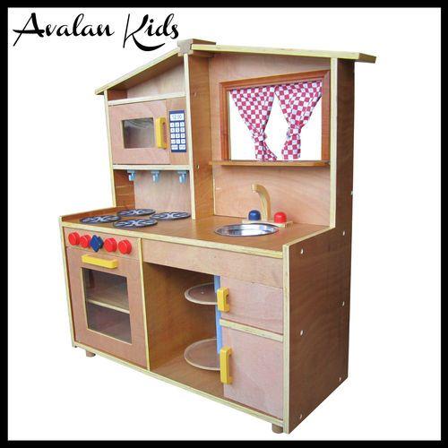 Wooden Kids Kitchen Pretend Play Toddlers Kitchen TOY Kitchen RED Curtain | eBay $180