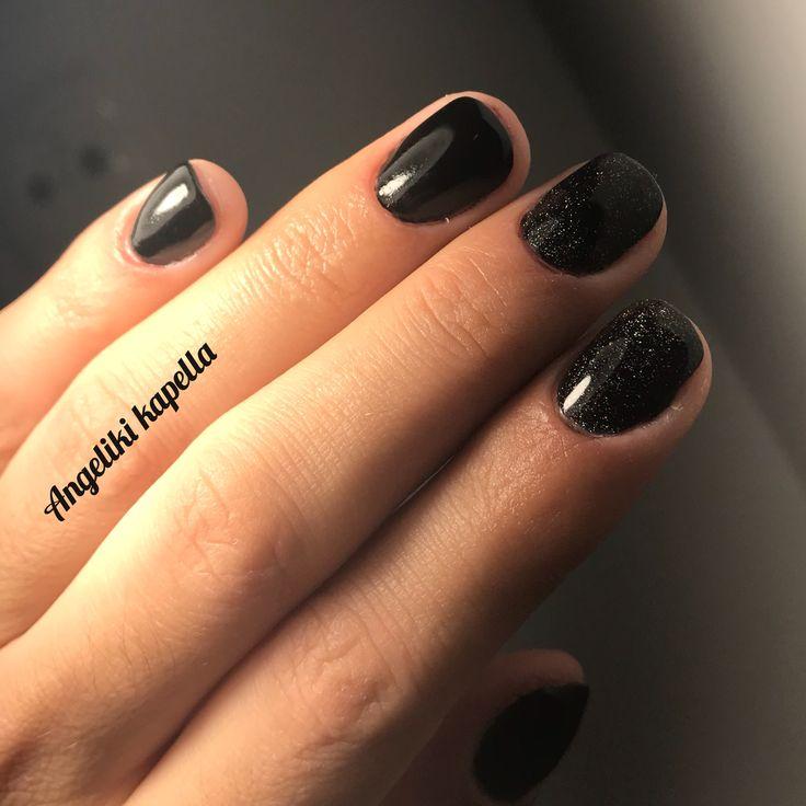Black shimmer nails