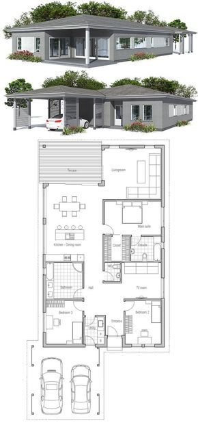 simple modern narrow house floor plan from concepthomecom - Simple Modern House Floor Plans