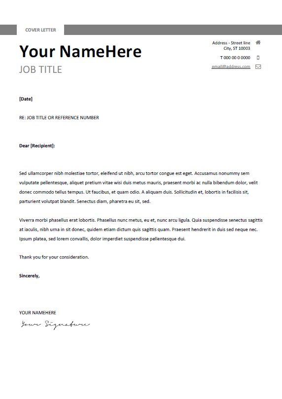 free clean and simple cover letter template for word docx gray - Simple Cover Letter For Resume