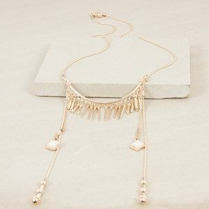 Curved Spike Bar Long Stone Drops Necklace