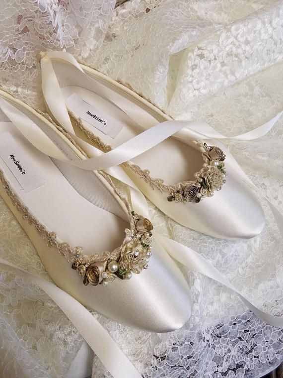 Champagne/Gold flat shoes!!! I meticulously designed these beautiful shoes fit for a real princess on her wedding day!!!! I hand dyed and hand embellished them, these are not found in stores!!! I used beautiful first class elements: gold Venice lace trim, silver Swarovski crystals, 3mm,