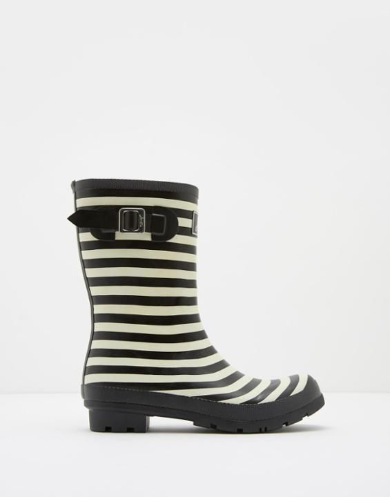 Molly Black Stripe Mid-Height Rain Boots | Joules US.  code elements 10/31