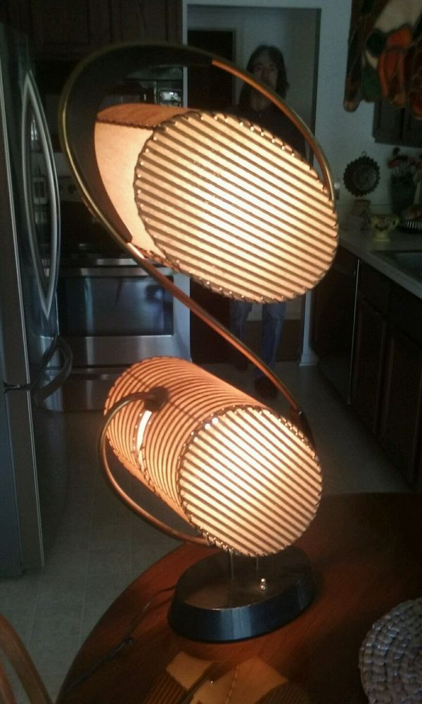 Majestic Mid  Century Retro Dual Hatbox  Style Table Lamp