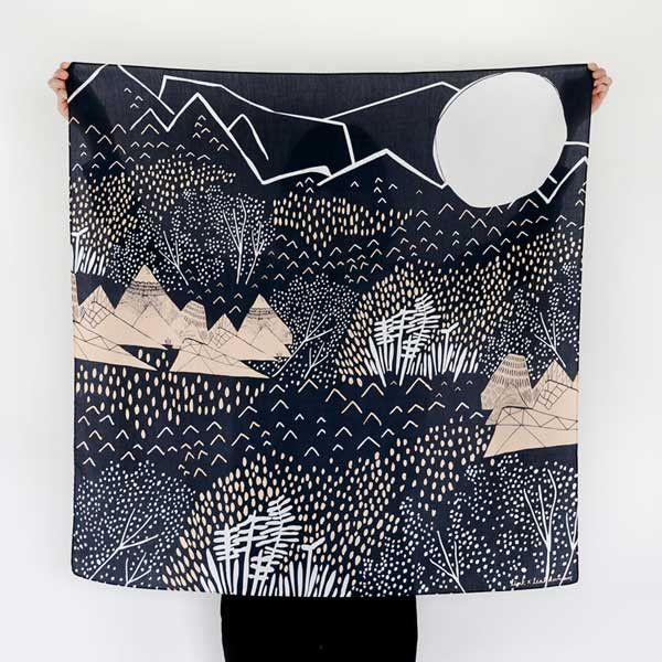 NEW // Furoshiki Wrapping Cloth - LINK x Leah Duncan {Mountain Blossom} Dark Blue x Peach | UGUiSU Online Store