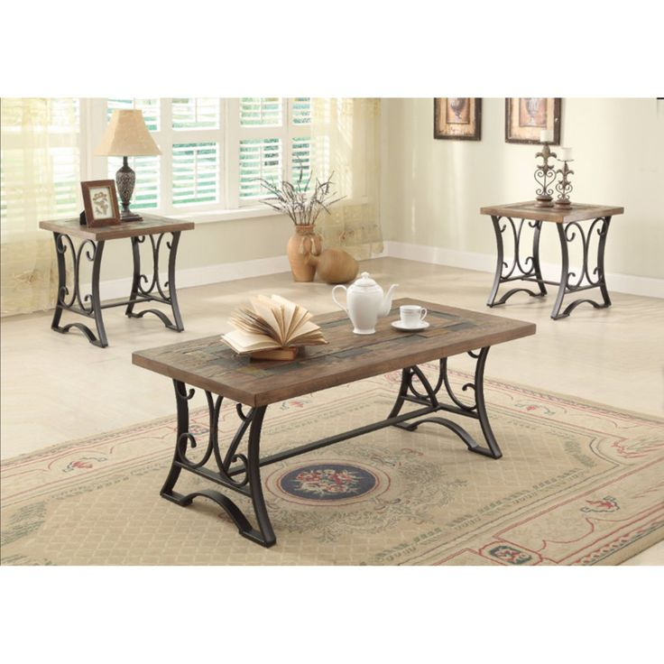 Best Benzara 3 Piece Rectangular Scroll Coffee Table Set In 400 x 300