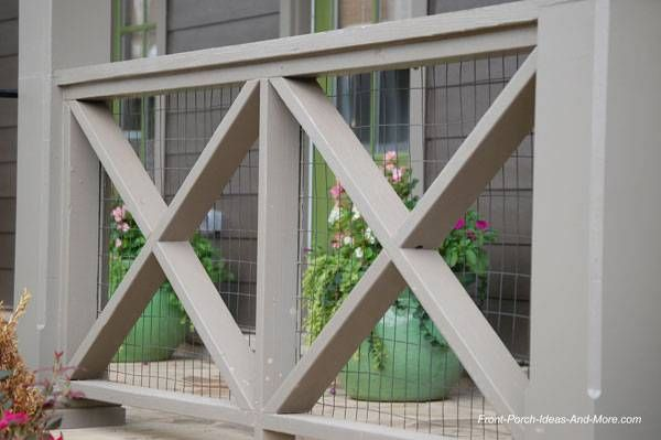 porch railing design with wire backing to meet code