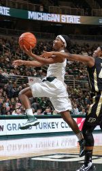 The No. 25 Michigan State women's basketball team dropped a tough 67-62 overtime decision to No. 15/13 Purdue on Sunday 1.27.13 at Breslin Center. The Spartans, who fall to 16-4 overall and 4-3 in the Big Ten, had a chance to win at the end of regulation but Jasmine Thomas' shot rimmed out and would go on to shoot 1-for-11 in overtime.