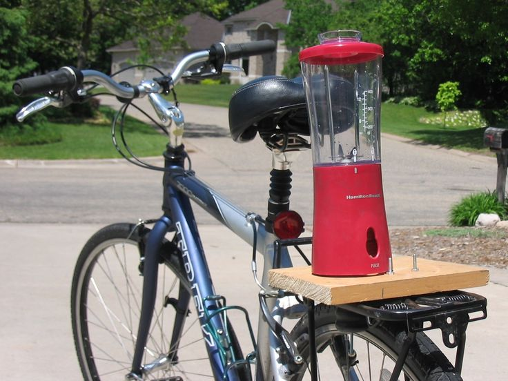 bike powered blender. Since appliances account for over 20% of your electric bill, this is one less energy consuming machine in your house. And making a fruit smoothie is twice as good for you as before; both in nutritional value, and also in the exercise you get. It isn't an incredibly difficult build, and even the most inexperienced Maker should be able to complete it in less than 3 hours (not counting glue drying time).