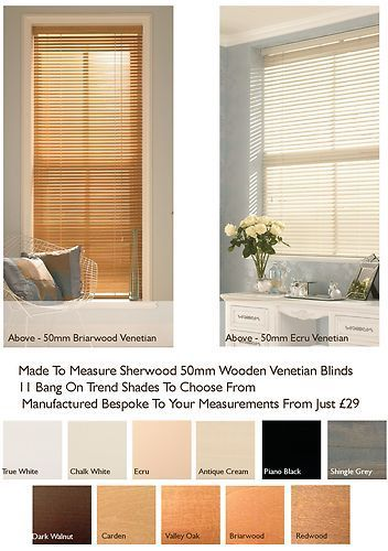 50mm Wooden Venetian Blind Made To Measure Blinds Choose From 11