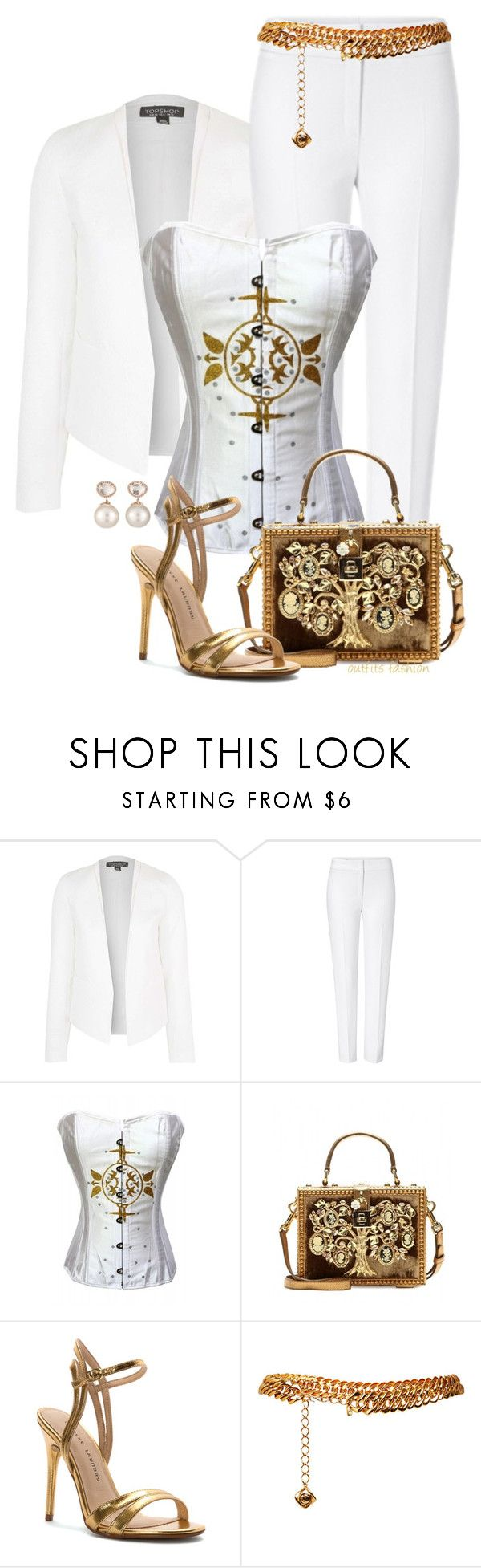 """White & Gold"" by rosipolooyas on Polyvore featuring moda, Topshop, ESCADA, Dolce&Gabbana, Chinese Laundry, Yves Saint Laurent y Samira 13"