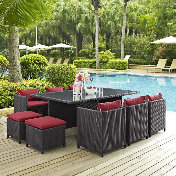 Reversal 11 Piece Outdoor Patio Dining Set, Espresso Red   Stand Out From  The Uniform