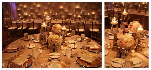 Gold Chiavari Chairs and Chargers by A Chair Affair. Florals and candle lit wall art by Rachel Kasie Designs. Photography by Kristen Weaver Photography.