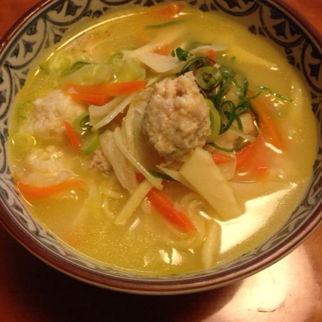お嬢がインフルエンザA型に❗️ 部屋に隔離で… 身体の中から温まるよーに スープで‼︎ ボンにはラーメンを入れて✌️ - 12件のもぐもぐ - 白湯スープ   野菜たっぷり ふんわり鶏団子 by miyuyasushima
