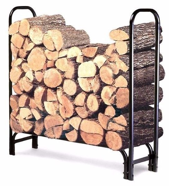 #Outdoor #Log #Rack #Black 4-Feet #Fireplace #Heavy #Duty #Wood Stacking #Holder Stand