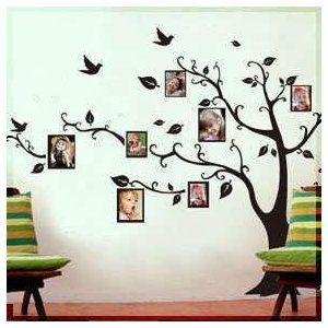 Black Photo Picture Frame Tree Vine Branch Removable Wall Decor Decal Sticker