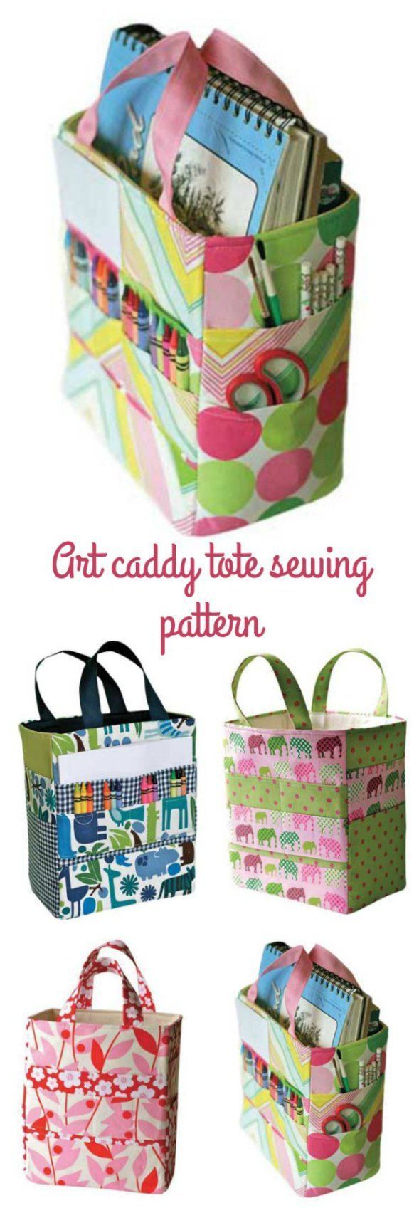 Sewing pattern for this art tote bag for all your drawing, painting and crafting supplies.  Great to keep kids organised or take supplies on the move.