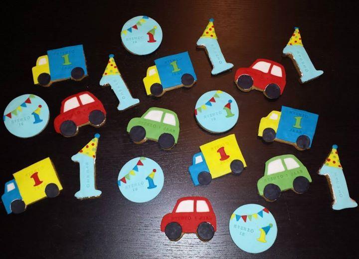 1ste verjaardag en auto koekjes