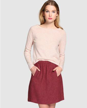Falda corta de mujer Esprit en color burdeos