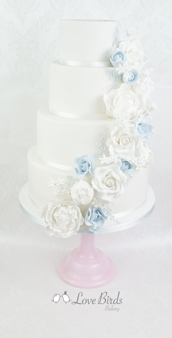 Cascading power blue and white roses