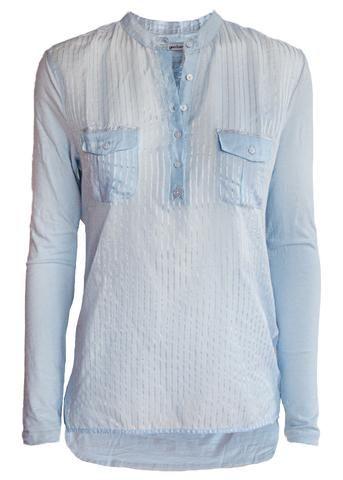 Copenhagen Luxe Skjorte lys blå 7344 Silk-Modal Shirt J Stripe light blue – Acorns