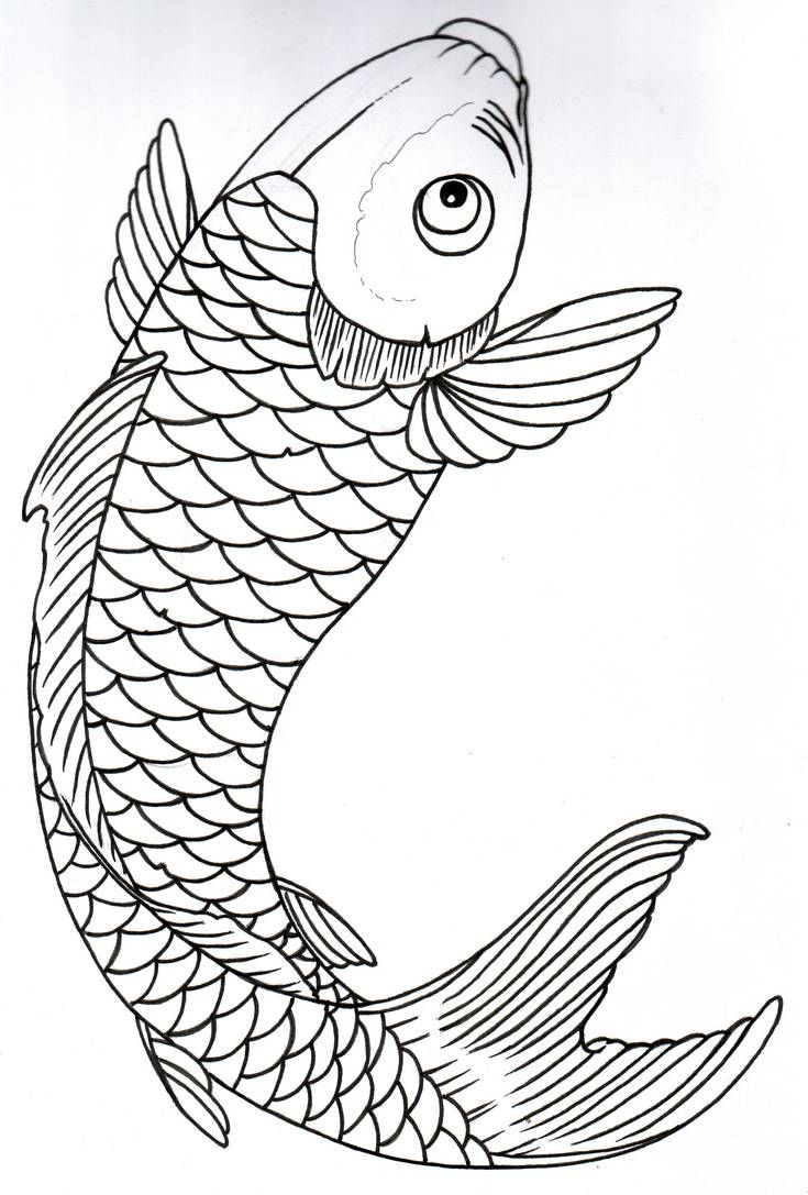 - Koi Outline 10 By Vikingtattoo On DeviantArt In 2020 Fish