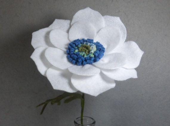 White Poppy Made Of Felt