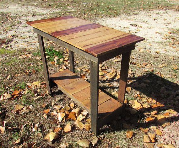 Mesa de sofá rústico mesa de madera maciza por SereneVillage