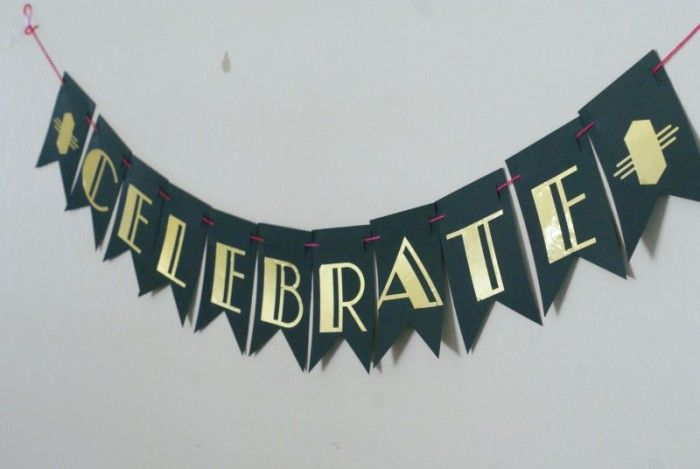 Roarin' 20's Birthday Party Celebrate Banner made with Cricut Explore -- Clever Pink Pirate. #DesignSpaceStar Round 3