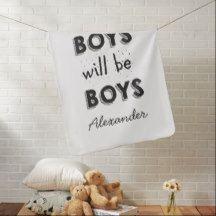 Boys Custom Name Blanket -Black White Nursery