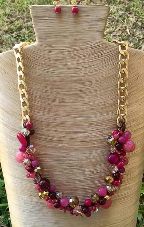 Collar piedras con cristales y cadena aluminio collares - Piedras para collares ...