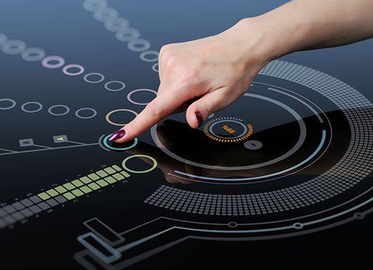 Categoria: 2 / Tags: futuristic, interface / Descrição: Protótipo de interface futurística, utilizando toque.