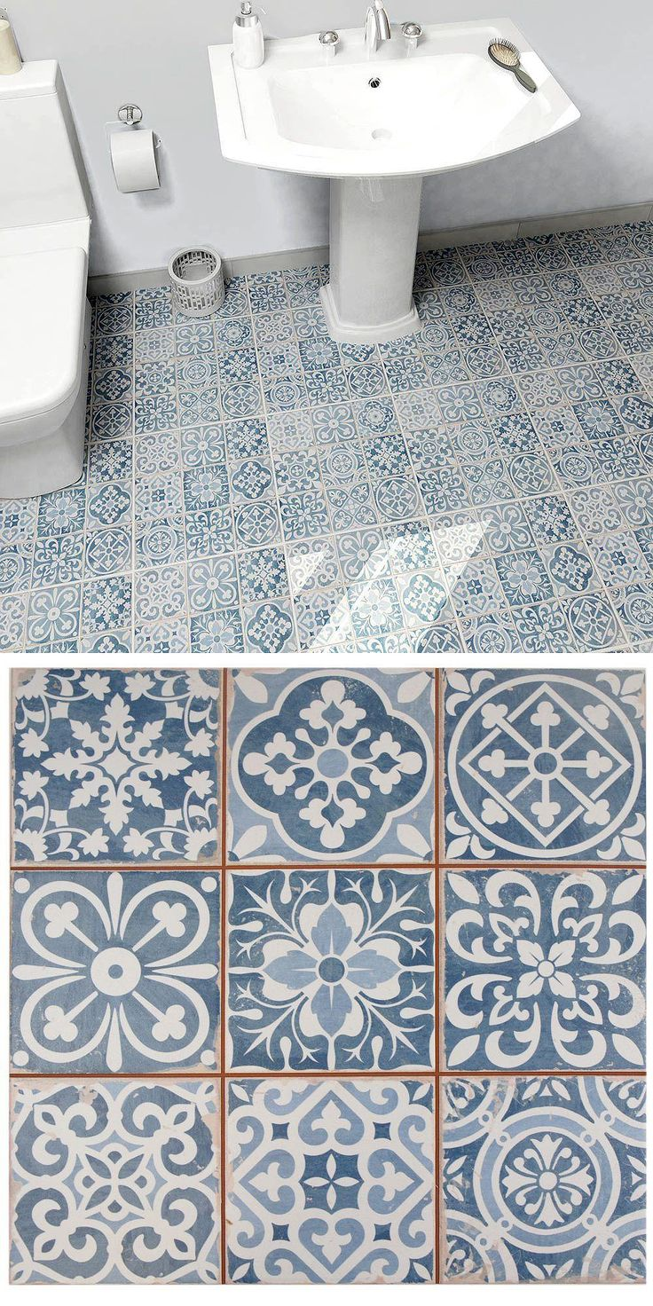 It is easy to picture sun-drenched streets of Spain when looking at the Faenza Azul Ceramic Floor and Wall Tile. Save time spent arranging smaller square tiles with these durable ceramic slabs, which have six squares with realistic lines in between to mimic grout. Each piece features floral designs with imitations of the scuffs and spots that are the marks of worn, century-old tile, the rich red tones peeking through for the perfect contrast to the faded denim blue.