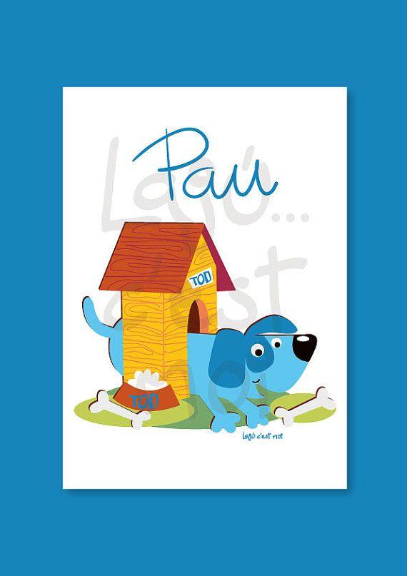 Perro azul en su casita amarilla cuadro por Lajucestmoi en Etsy