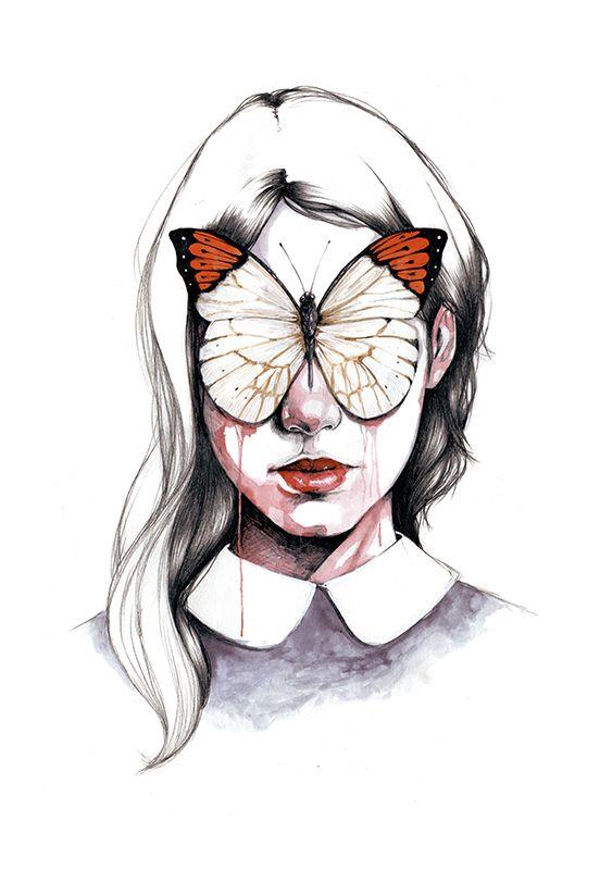 """Impresión realizada en papel Canson de 200 gramos.Disponible en dos tamaños: A4 (210x297mm) y A3 (297x420mm).Dice:Ahora escondéis los ojos detrás de mariposas como si fueseis a dejar de ver todo lo que no deberíais haber visto pero sabéis tan bien como yo que si os los arrancasen seguiríais llorando y que da igual con qué os los tapéis porque con los ojos tapados siempre es todo de color negro."""""""