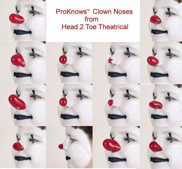 ProKnows Deluxe Clown Nose from our Head 2 Toe Theatrical costume shop! Made famous by Leon McBryde, International Hall of Fame Circus Clown Extraordinaire.  Contains no latex for your safety. Look like a clown in just seconds. This  nose will have them seeing you from far away. Just put this over your own nose, pow... instant clown.  For professional clown fun!
