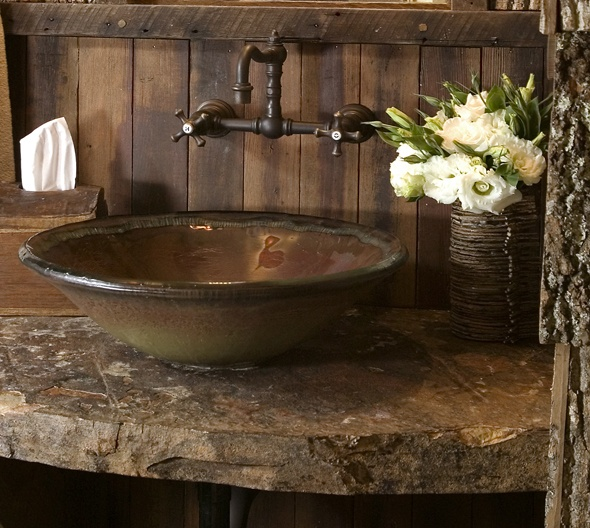 Rustic Sink And Faucet For Bathroom
