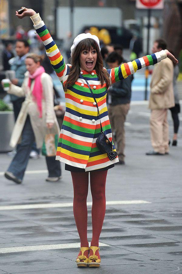 Glee's Lea Michele lights up Times Square in a technicolour coat