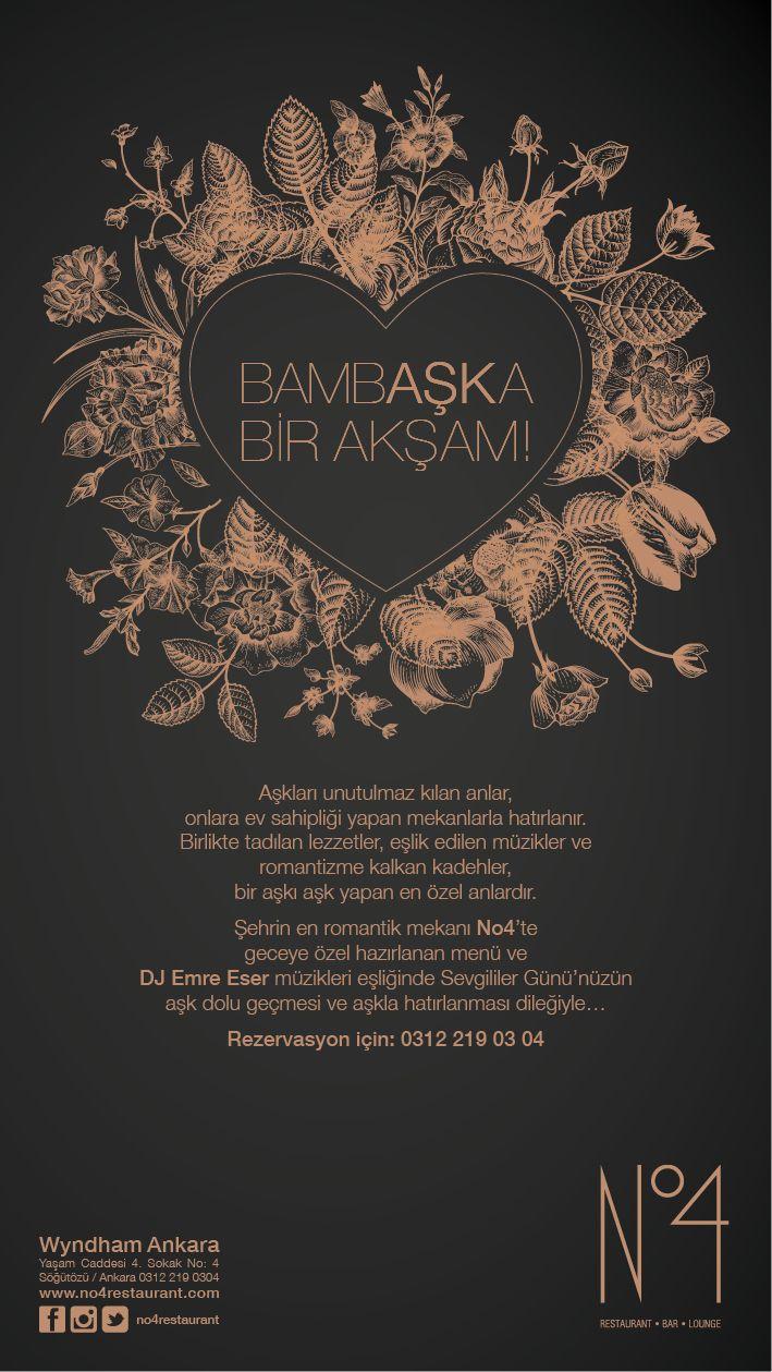 Wyndham Ankara'da Romantizm Rüzgarları Esiyor    • Gastronomiyi yaratıcılıkla birleştiren mutfak ekibi tarafından hazırlanan No4 Restaurant Bar Lounge'da Tutku Dolu Akşam Yemeği ve DJ Emre Eser'in o geceye özel hazırlanmış romantik müzikleri • Luxury Hotel konseptinin Ankara'daki tek adresi olan Wyndham Ankara'da güne özel konaklama paketleri • Kendini sürekli yenileyen ve sıra dışı otel deneyimini yaşatan Wyndham Ankara 'dan sevgiliye Salix Spa hediye kartı ayrıcalığı ile yaşatın.
