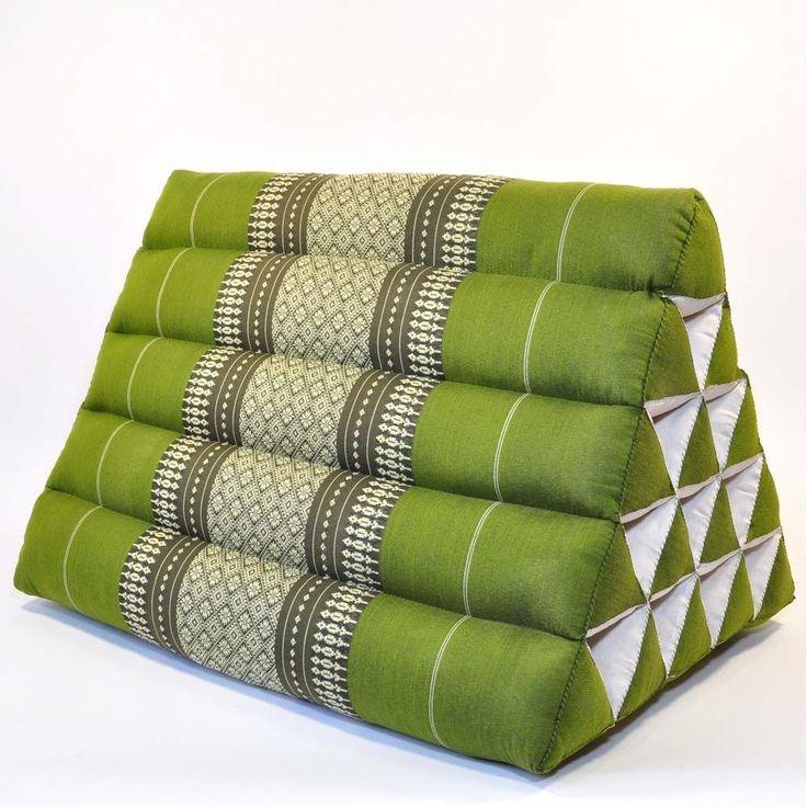 Thai Dreieckskissen grün Blüten 55x40x35cm günstig