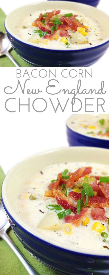 Famous New England Bacon Corn Chowder Recipe. It's magical coming in from the cold on a blustery winter day to a steaming bowl of creamy bacon corn chowder.
