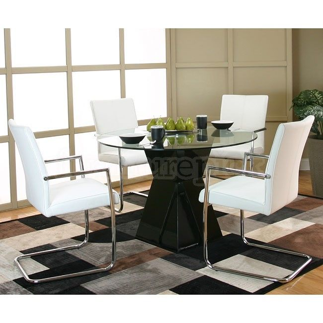 Virgo Black Table Base Dinette W White Chairs Cramco