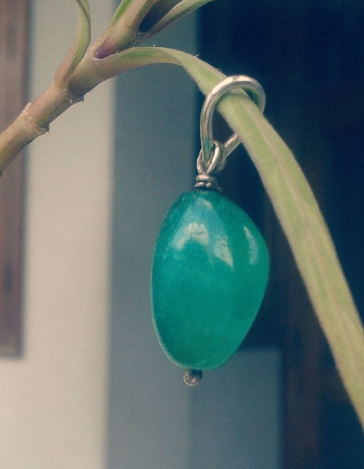 Natural Genuine Emerald Cabochon Pendant With Sterling Silver Hook by colorvilla…