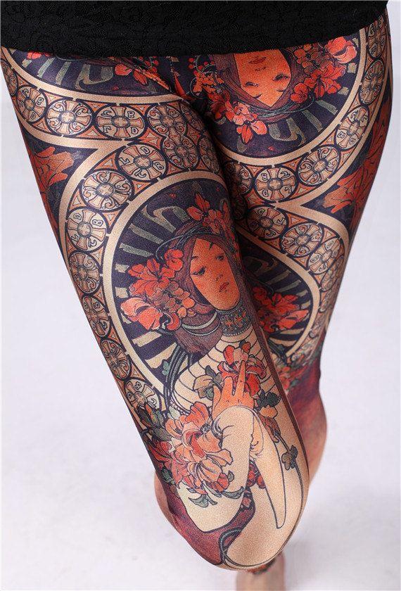 Alphonse Mucha Print PantsYoga Tights leggingsNOT by leggingscube, $19.90