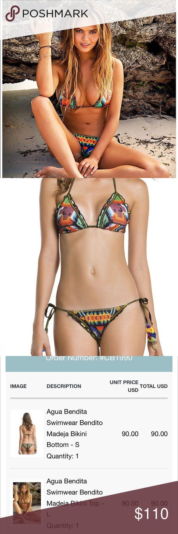 As seen in Sports Illustrated Agua Bendita Madeja Agua Bendita Swimwear Bendito Madeja Bikini.  Worn once.  Top large, bottom small Agua Bendita Swim Bikinis