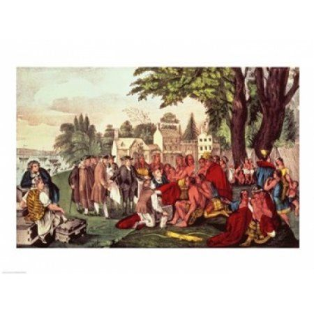 Posterazzi William Penns Treaty with the Indians Canvas Art - (36 x 24)