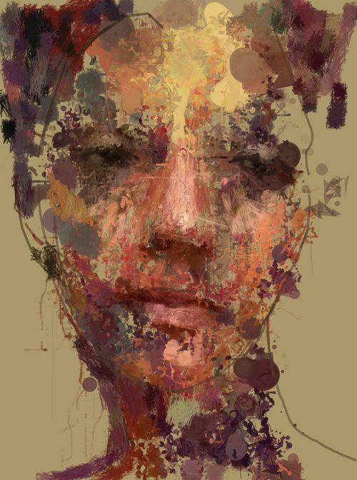 Artist: Sergio Albiac {abstract female head woman face portrait painting}